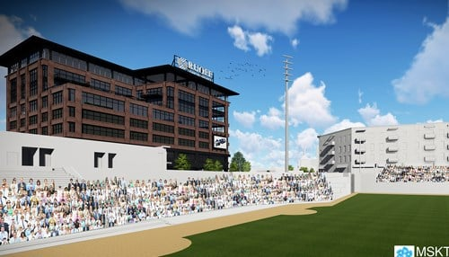 (The proposed HQ for Ruoff Home Mortgage would overlook Parkview Field in downtown Fort Wayne)