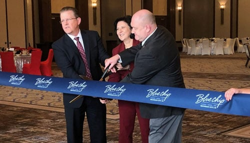 Casino & city officials cut the ribbon on the new Fremont Ballroom. (photo courtesy: The Times of Northwest Indiana)