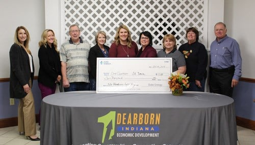 Duke Energy presents a $10K check and site readiness plans to Dearborn County economic officials. (Oct. 31, 2019)