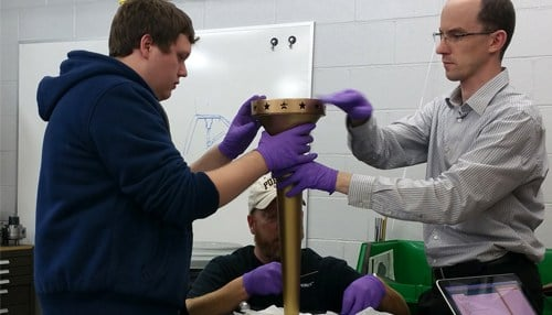 Purdue engineering students designed the three torches that will be used in the bicentennial relay.