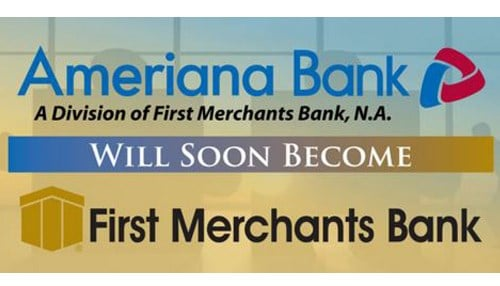 First Merchants' acquisition of Ameriana Bancorp contributed to the company's growth.