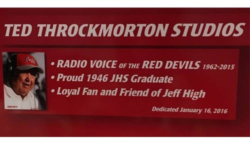 Throckmorton was the radio voice of the high school for over 50 years.