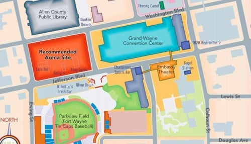 If approved, the arena would be located just west of the Grand Wayne Center.