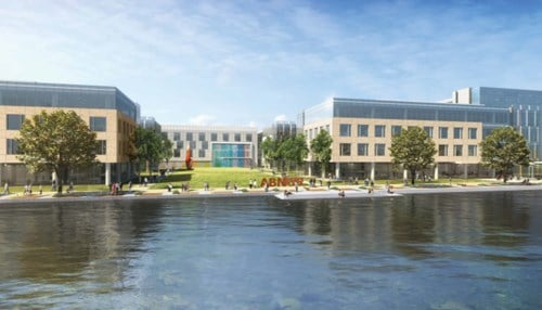 The 130-acre campus would include up to five office buildings.