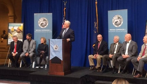 Governor Mike Pence kicked off the campaign with business and government leaders at the Statehouse.
