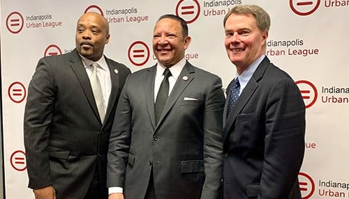 (L to R) Indy Urban League CEO Tony Mason, National Urban League CEO Marc Morial, Indianapolis Mayor Joe Hogsett