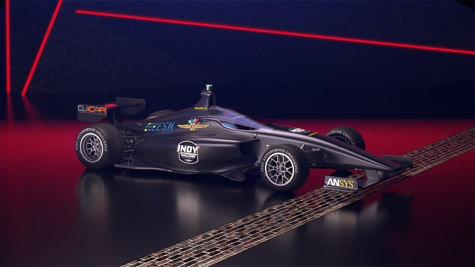 Rendering of the test car for the Indy Autonomous Challenge at IMS