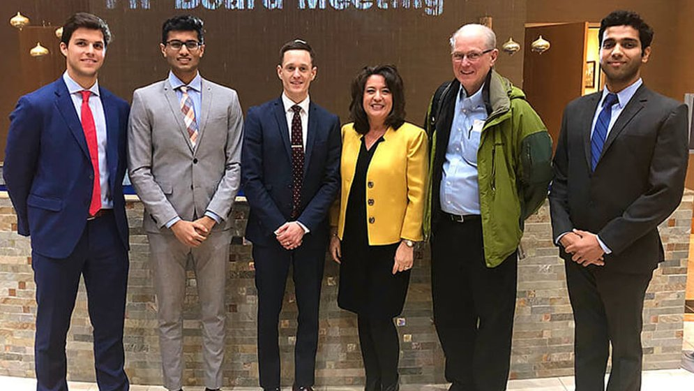 the Amplified Sciences team, pictured L to R: Stephan Koenigsfest, Anuraag Yachamaneni, Fredrik Jansson-Knodell, Diana Caldwell, Vincent Jo Davisson and Ananya Sheth (photo courtesy of Purdue University)